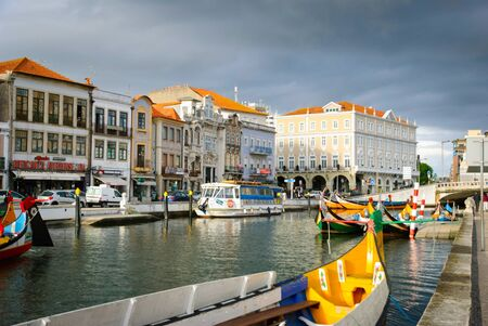 ria: Typical boats in water canals in Aveiro, Portugal
