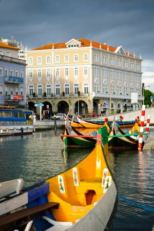 Typical boats in water canals in Aveiro, Portugal