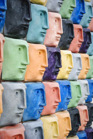 Faces art in different colors photo