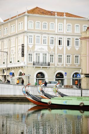 Aveiro with main water canal and typical boats