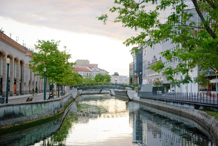 Water canal in Aveiro, Portugal photo