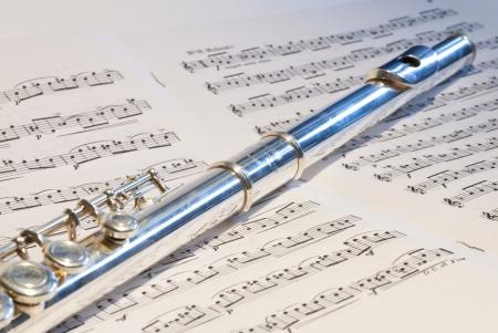boehm flute: Flauta instrumento en el fondo nota sinfon�a