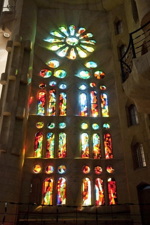 Window detail in Sagrada Familia church, Barcelona, Spain