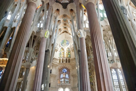 catalunia: Interior of Sagrada Familia Church, Barcelona, Catalunia, Spain