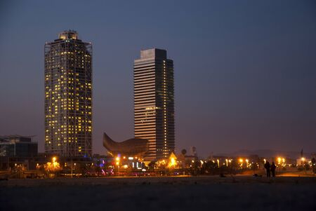 Barcelona, Spain - March 11: Mapfre twin towers at night, Barcelona, Spain on March 11, 2013.