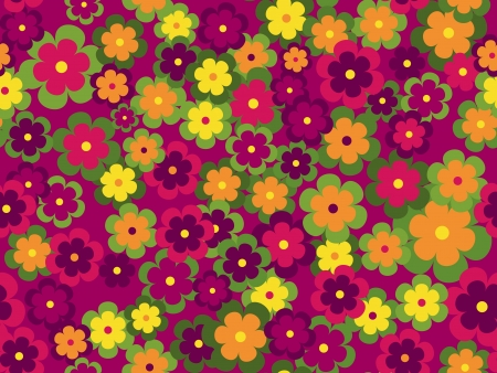 Seamless flower vecotr pattern on purple background Vector