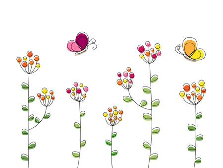 Buttterflys flying over the blossoming flowers illustration Vector