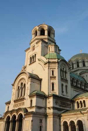 golden religious symbols: Alexander Nevsky orthdox cathedral in Sofia, Bulgaria Stock Photo