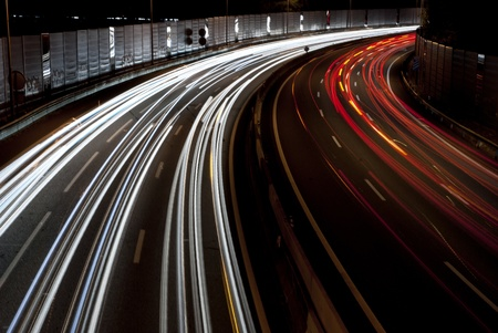 Long exposure of traffic on highway at night