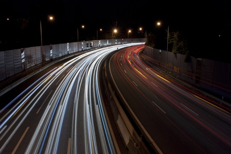 Long exposure of traffic on highway at night photo