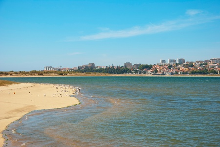 Sandy beach of naural reserve for birds in Porto, Portugal photo