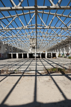 Interior of abandoned factory building, full of graffiti Stock Photo - 21549677