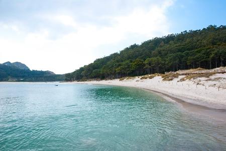 Smaragd water of Cies islands natural park, Galicia, Spain