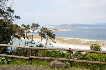 Smaragd water of Cies islands natural park, Galicia, Spain  photo