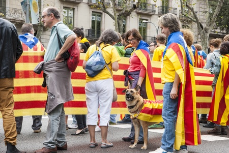 BARCELONA, SPAIN - SEPTEMBER 11: People and dog joining the human chain Catalan Way crossing all Catalonia, silent demonstration for independent Catalonia in Barcelona, Spain on September 11, 2013