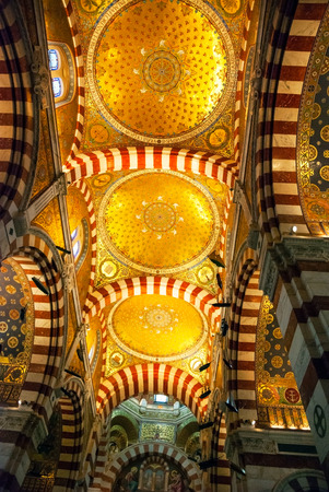 garde: Interior with golden mosaics of Notre Dame de la Garde cathedral, Marseille