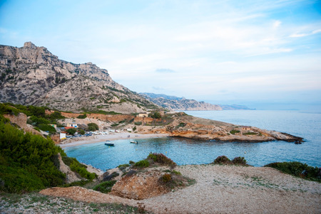 Azure waters of bay in Calanqus natural park, Marseille, France photo