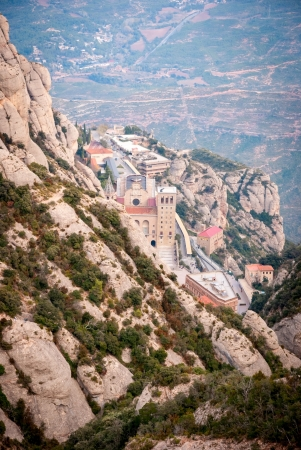 View to old monastery of Montserrat near Barcelona, Spain