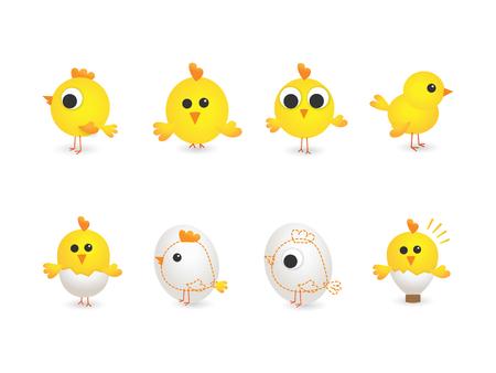 Ilustración vectorial de pollos amarillos
