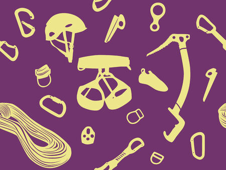 Climbing equipment vector seamless pattern in violet and yellow Vector