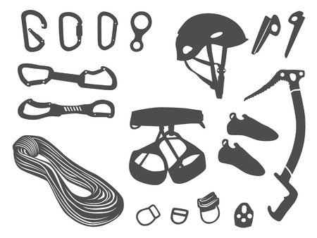 Climbing equipment vector set Vector