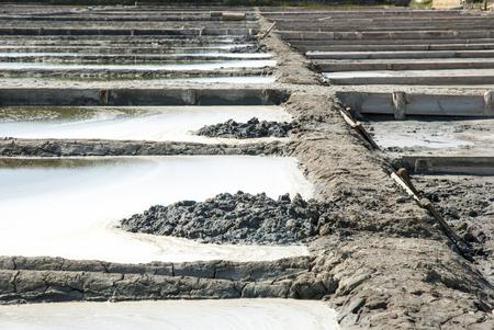 evaporation: Salt evaporation ponds in salt farm, Aveiro, Portugal Stock Photo