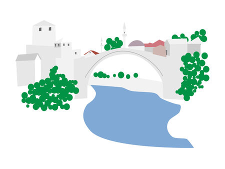 unesco: Mostar old town, Bosnia and Herzegovina, vector illustration