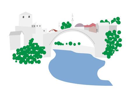 Mostar old town, Bosnia and Herzegovina, vector illustration