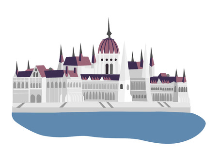 budapest: Parliament of Hungary, Budapest, vector illustration