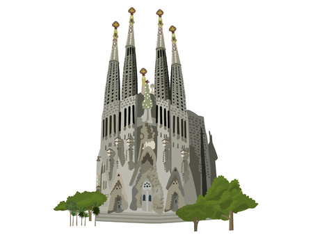 barcelona cathedral: Sagrada familia church, Barcelona, vector illustration
