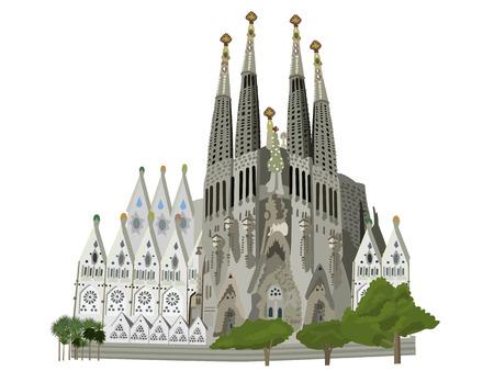 Sagrada familia church, Barcelona, vector illustration