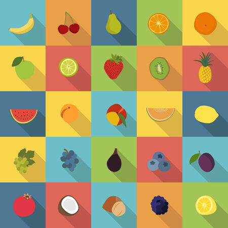 25 fruit icons in colorful flat design style vector Vector