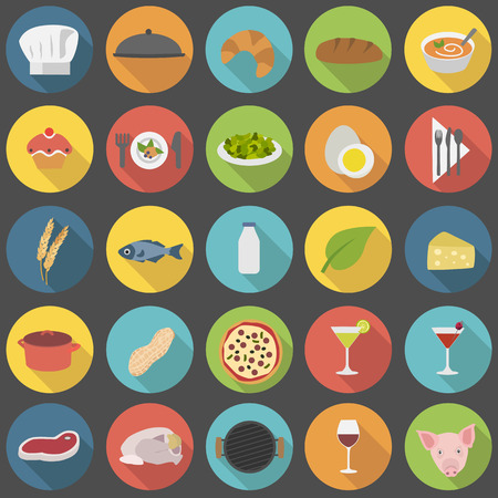 soup and salad: Chefs icons set for restaurants menu and cooking Illustration