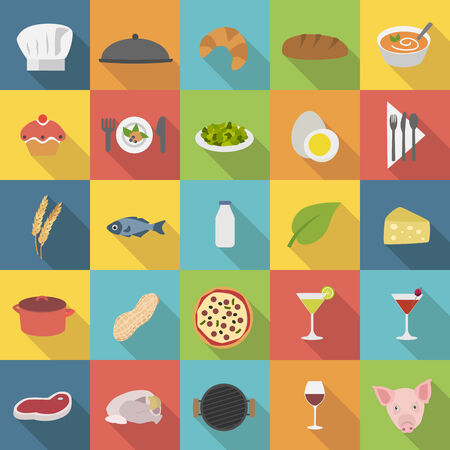 main dishes: Iconos del chef establecidos para el men� de los restaurantes y la cocina