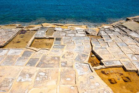 man made: Man made evaporation ponds for salt production, Malta