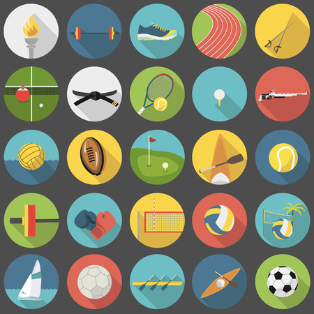 box weight: Collection of summer sports vector flat icons