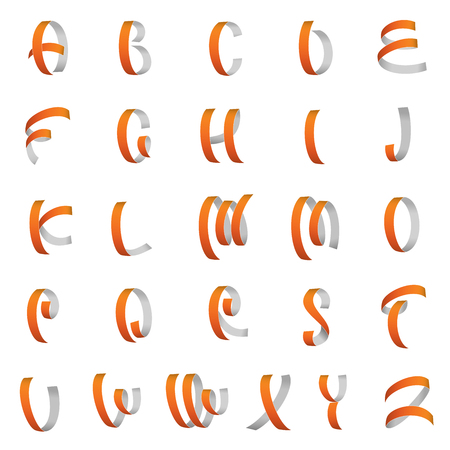 Ribbon font, latin alphabet letters vector Vector