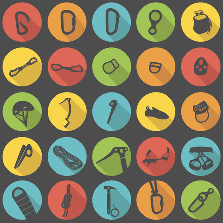 ice climbing: Climbing equipment and gear flat icons vector set