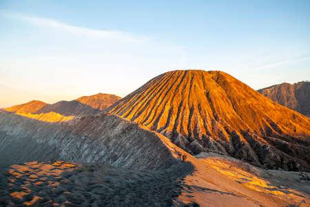 Sunrise over Bromo volcano and plateau, East Java, Indonesia photo