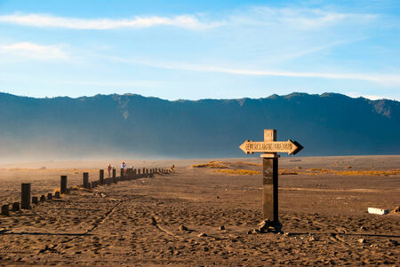 Sign to mount Bromo at plateau, east Java, Indonesia photo