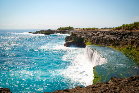 indonesia: Devils tears cliffs at Nusa Lembongan island, Indonesia Stock Photo