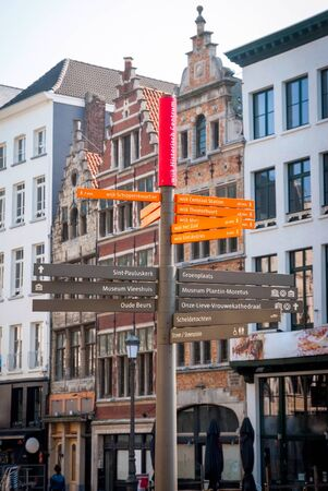 old sign: Sign with directions in Antwerp old town, Belgium