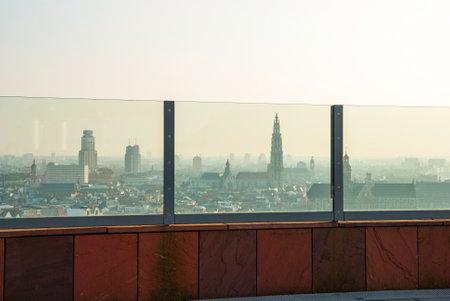march 17: ANTWERP, BELGIUM - MARCH 17: View over Antwerp from Museum aan der Stroom on March 17, 2015
