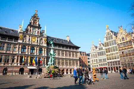 march 17: ANTWERP, BELGIUM - MARCH 17: Downtown of Antwerp with typical old houses on March 17, 2015