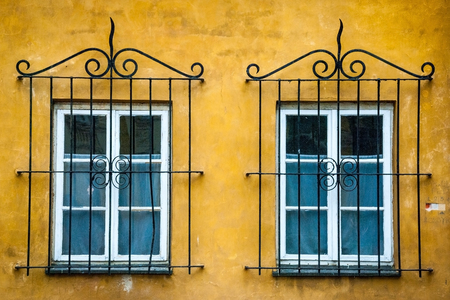 iron barred: Two old windows with ornameltal metal lattice