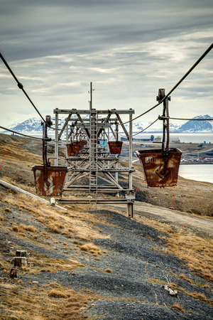 abandoned car: Old cable car for coal transportation in Longyearbyen, Svalbard, Norway, HDR photo Stock Photo