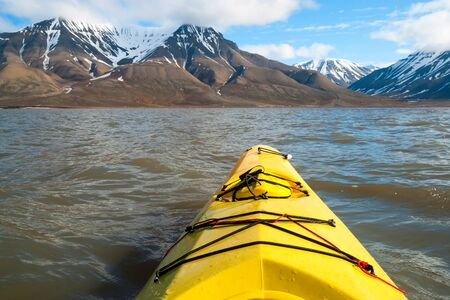 first: Kayaking on the sea, first person view, Arctic, Norway Stock Photo