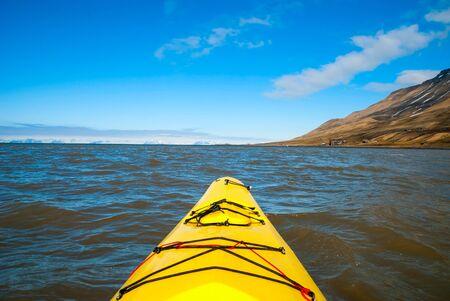 ocean kayak: Kayak en el mar, vista en primera persona, �rtico, Noruega