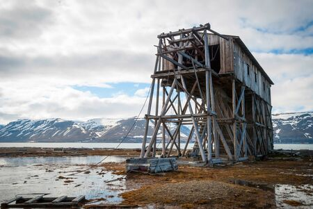 polar station: Abandoned wooden coal mine transportation station in Svalbard, Norway