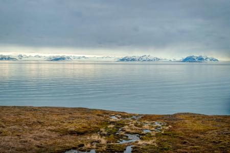 Arctische toendra met besneeuwde bergen en de Arctische oceaan achter, Svalbard Stockfoto